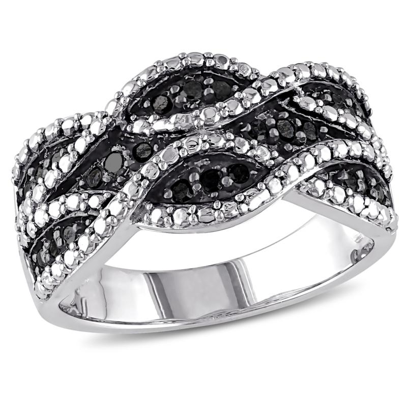 Sterling Silver 0.25ctw Black Diamond Double Twist Ring