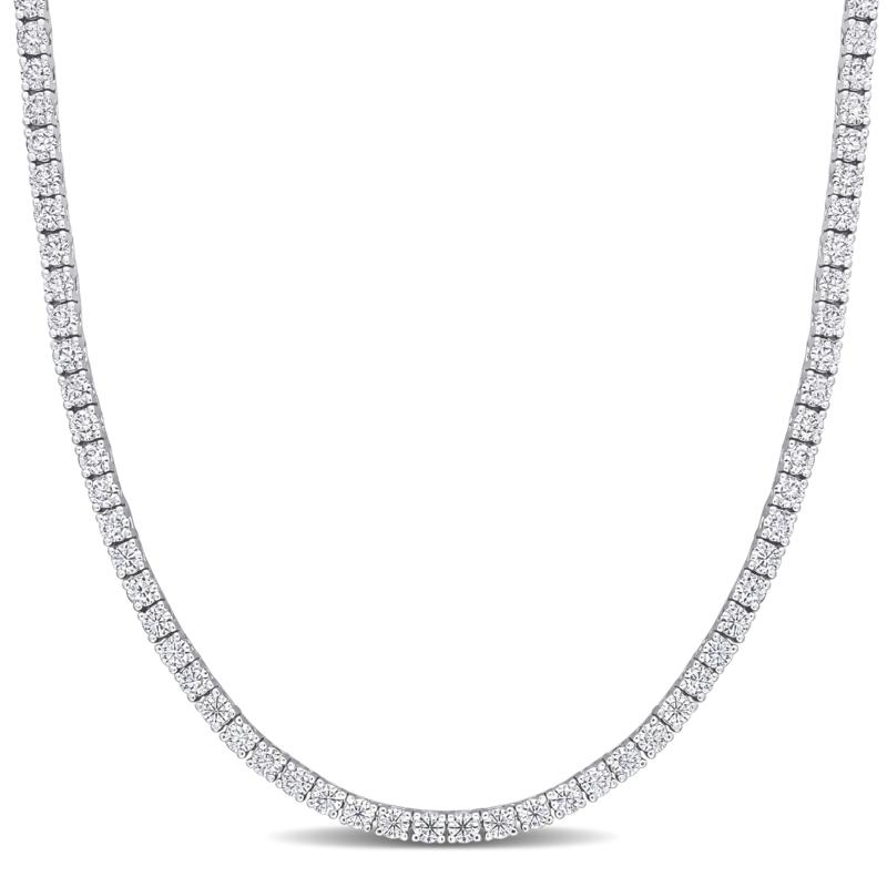 Sterling Silver 12.5ctw Created Moissanite Tennis Necklace