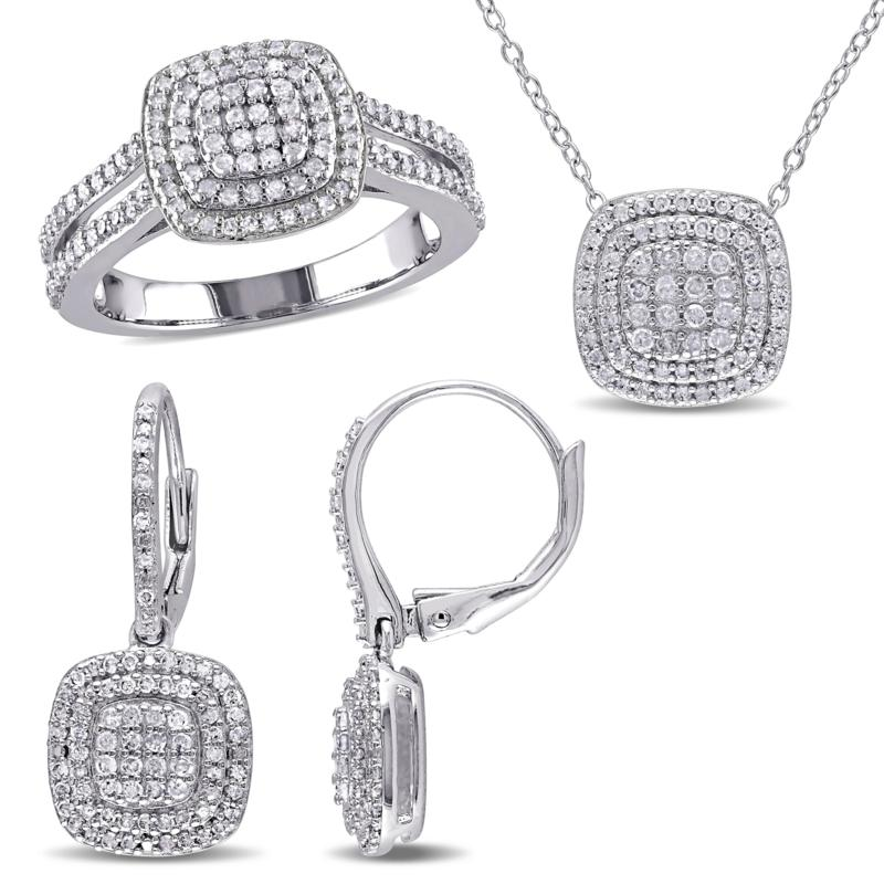 Sterling Silver 1.43ctw Diamond Halo Cluster Jewelry Set