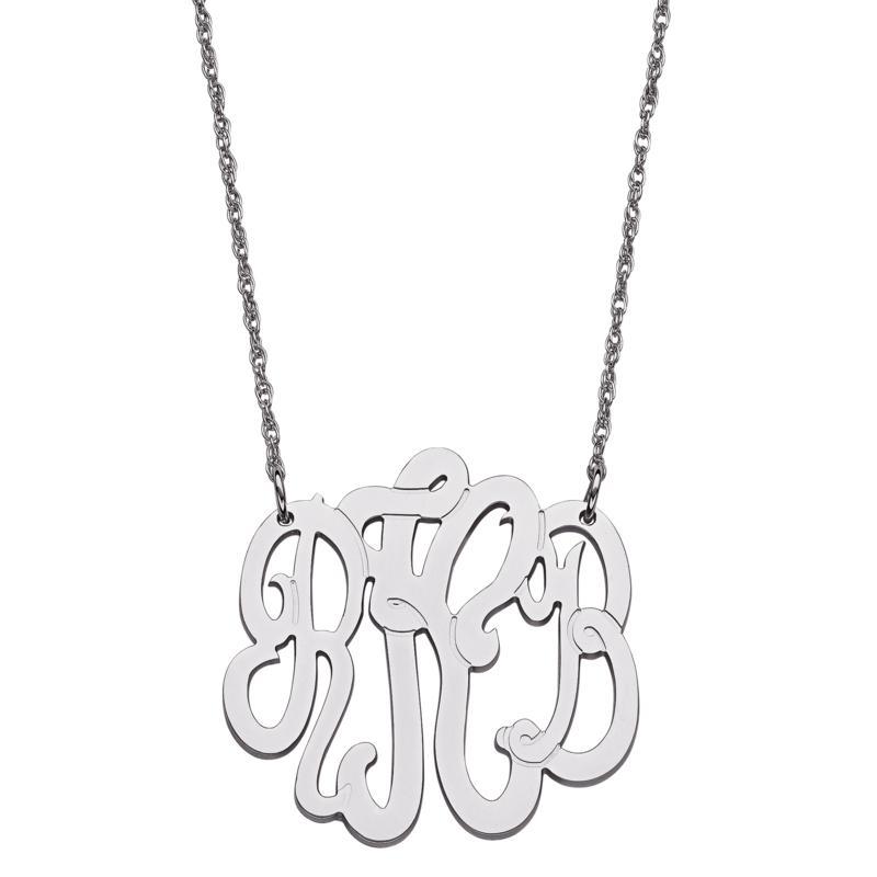 Sterling Silver 3-Initial Script Monogram Necklace - Medium