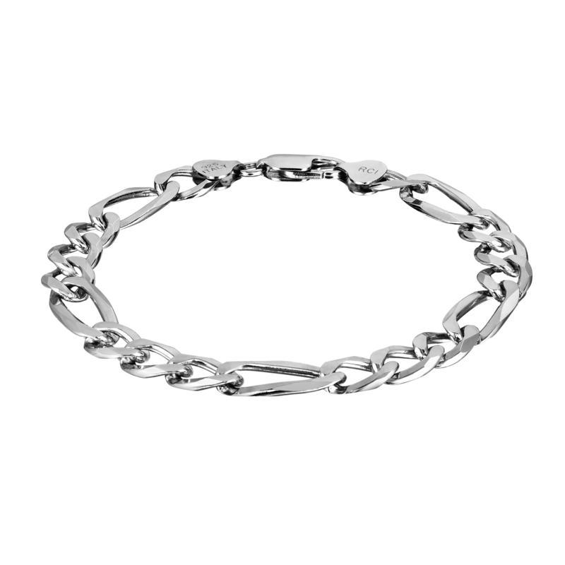 """Sterling Silver 8.8mm Diamond-Cut Figaro Link 8-1/2"""" Bracelet"""