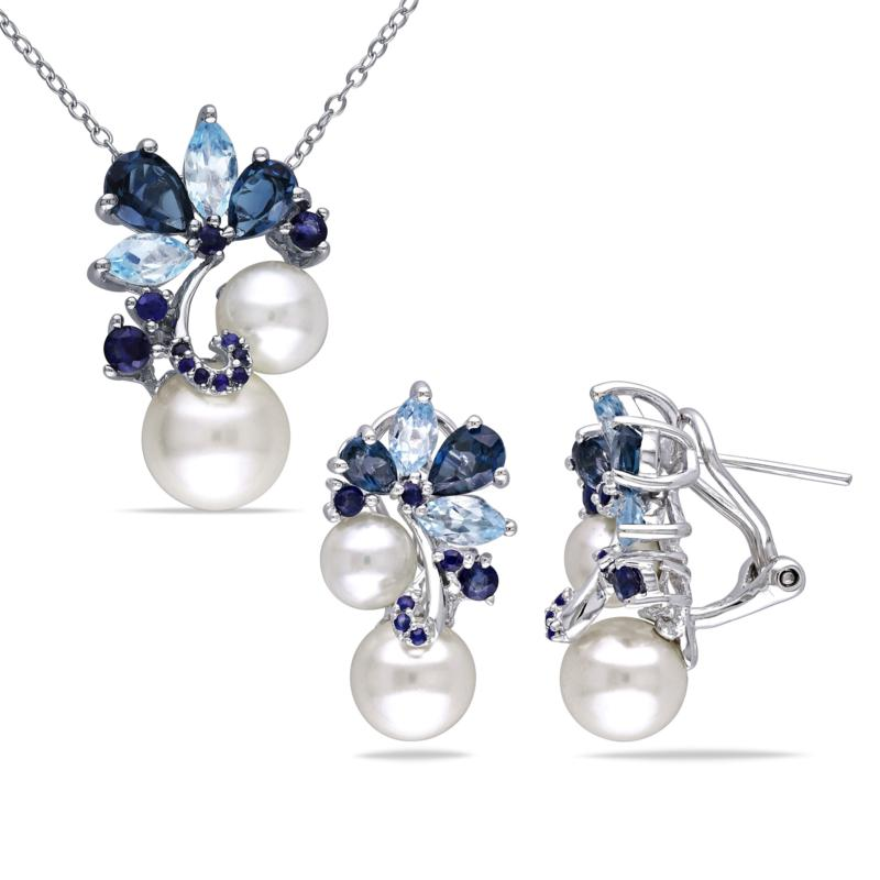 Sterling Silver Cultured Pearl, Topaz and Gem Earrings and Pendant