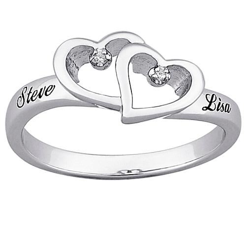 Sterling Silver Diamond Hearts and Name Promise Ring