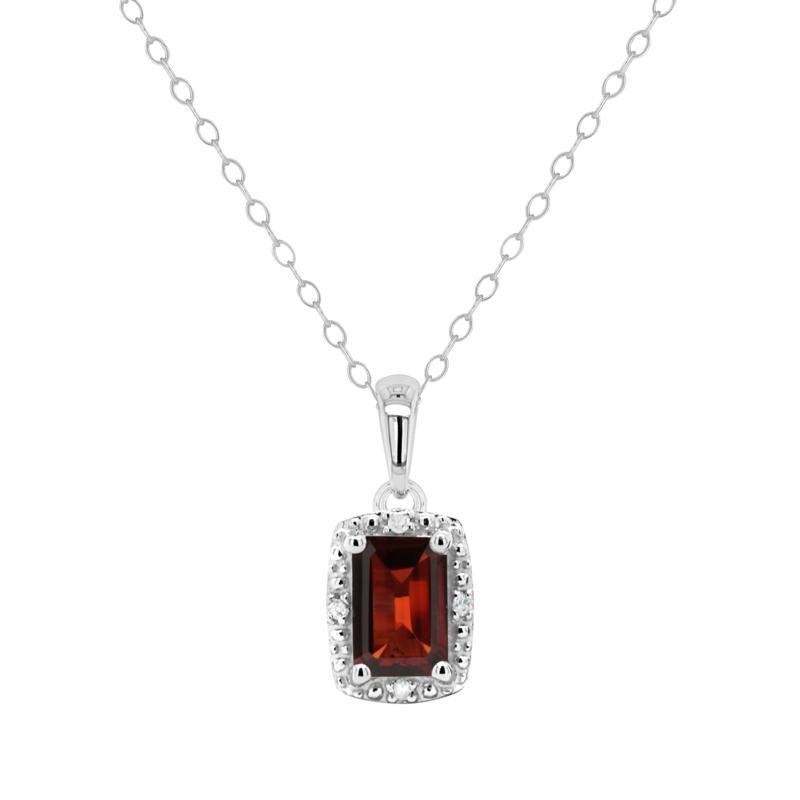 Sterling Silver Emerald-Cut Gemstone & Diamond Pendant with Chain