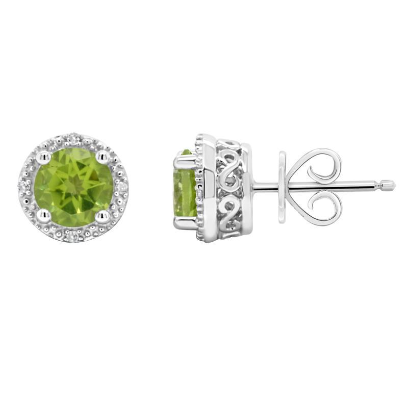 Sterling Silver Gemstone and Diamond Round Stud Earrings