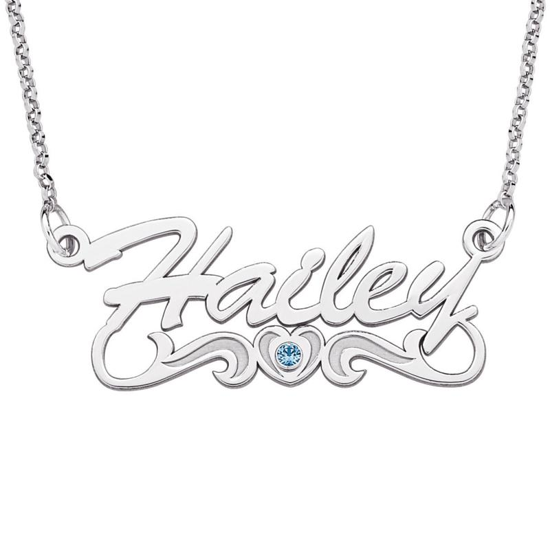 Sterling Silver Name & Birthstone Heart Necklace