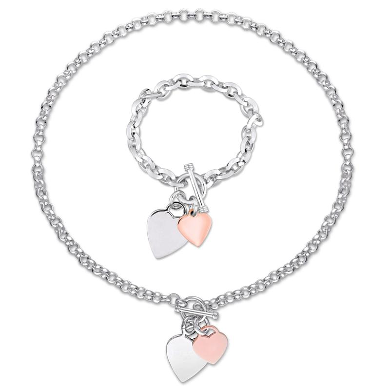 Sterling Silver Necklace and Bracelet with Two-Tone Heart Charms