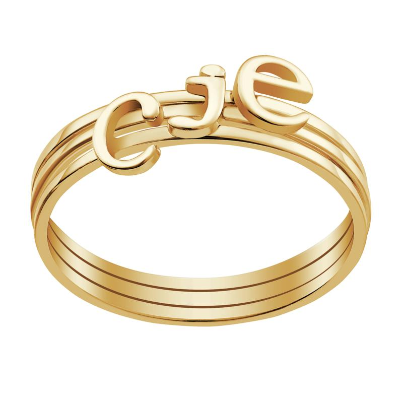 Sterling Silver or Gold over Sterling Petite Lowercase Initials Rin...