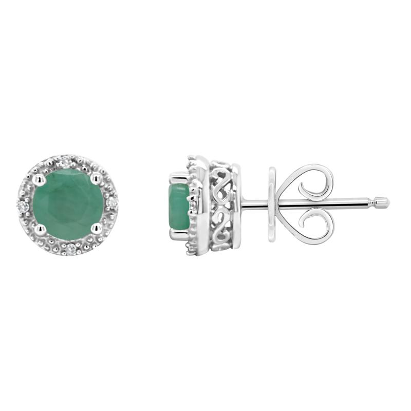 Sterling Silver Precious Gem and Diamond 5mm Round Stud Earrings