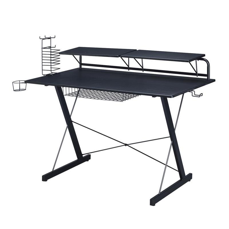 Techni Sport TS-200 Carbon Computer Gaming Desk with Shelving