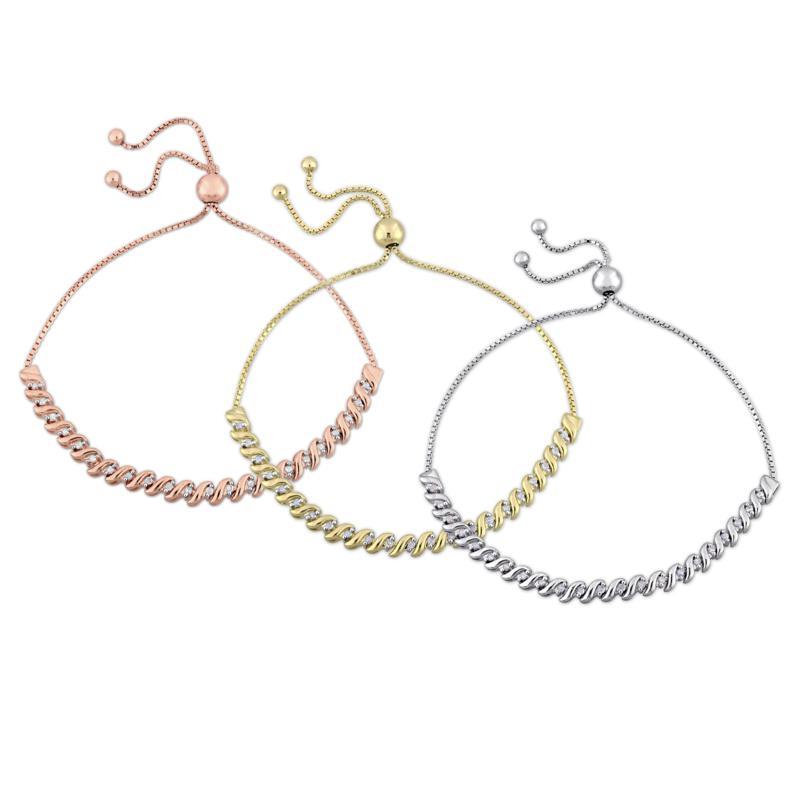 Three-Tone Sterling Silver 0.73ctw Diamond Bolo Bracelet 3-Piece Set