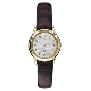 Timex Women's Mother-of-Pearl Dial Leather Strap Watch