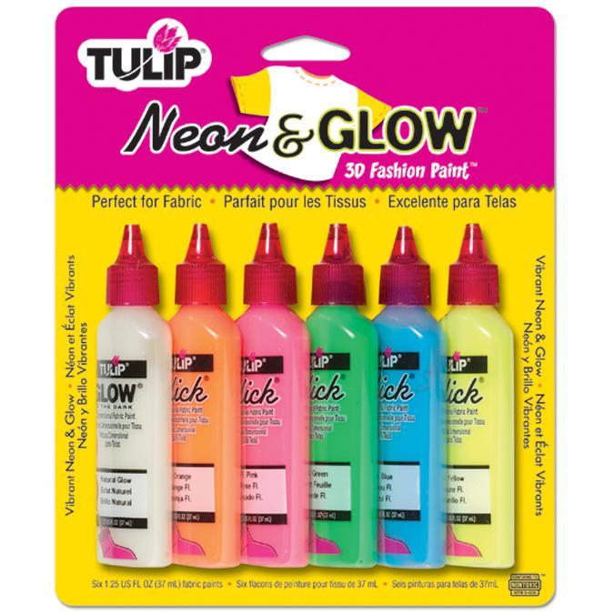 Tulip Dimensional Fabric Paints 1.25oz 6/Pkg - Neon and Glow