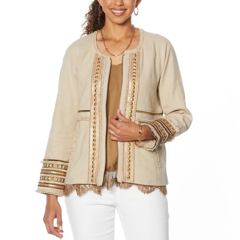 Vanessa Williams Embellished Zipper Front Jacket