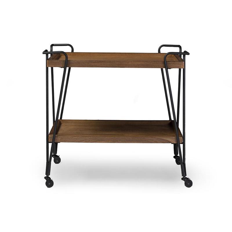 Wholesale Interiors Jessica Metal and Wood Mobile Bar Cart