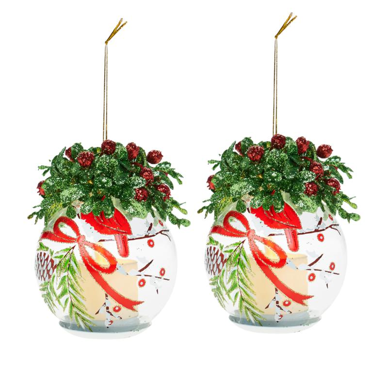 """Winter Lane 2-pack 6"""" Lighted Glass Ornaments with Gift Bags"""