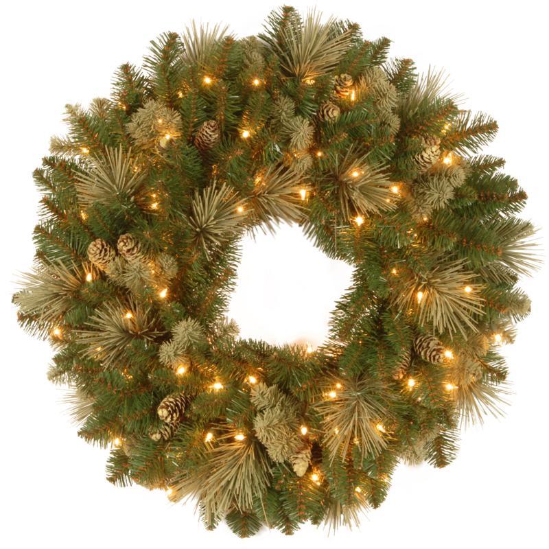 "Winter Lane 30"" Carolina Pine Wreath w/Lights"