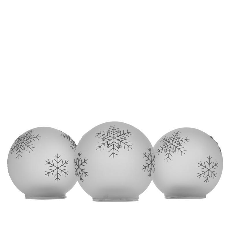 Winter Lane Set of 3 Glass Warm White LED Snowflake Balls