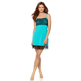 Rhonda Shear Chemise with Bra and Lace Trim